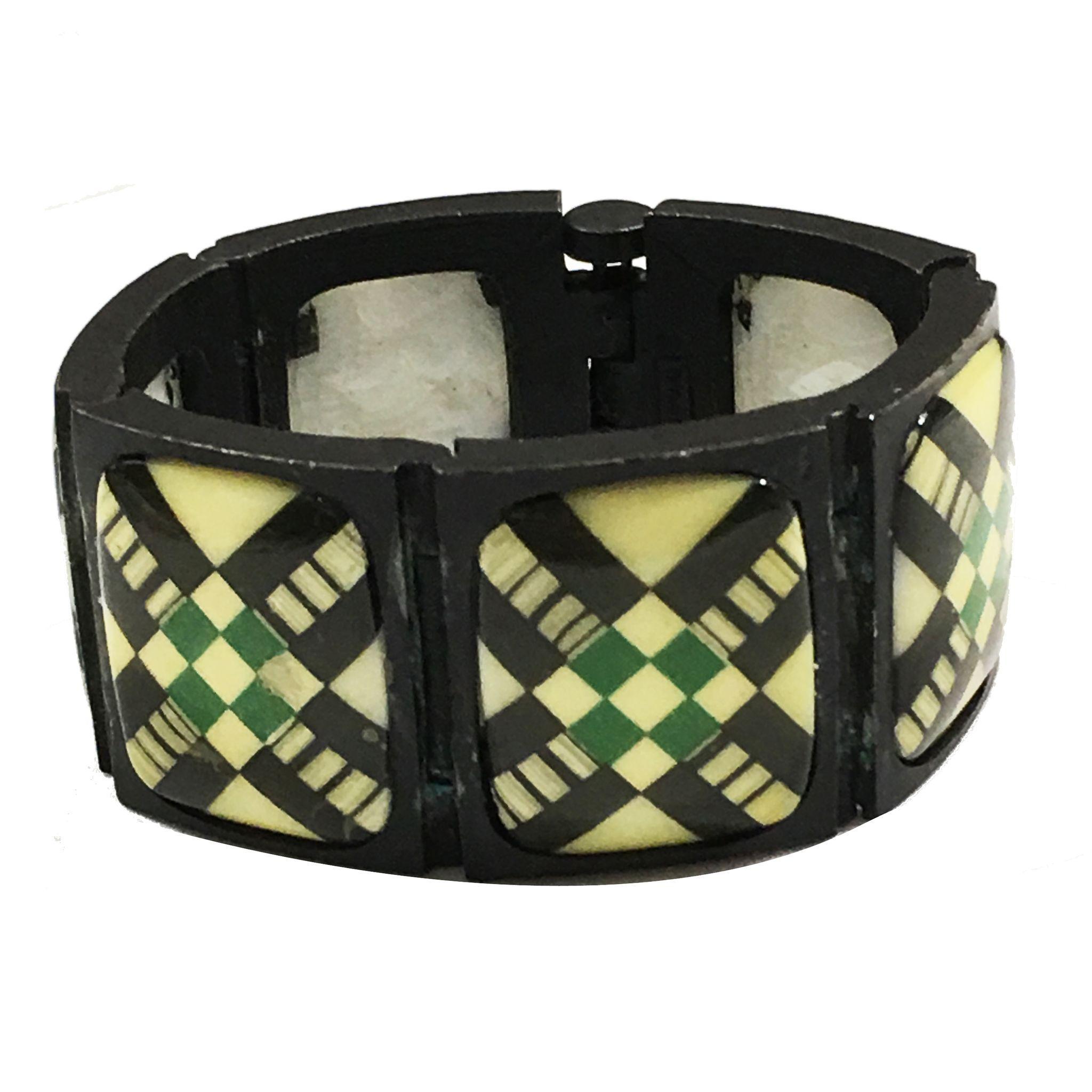 Diane Love for TRIFARI Japanned Glass Stoned Green Plaid Front Intaglio Back Link Bracelet