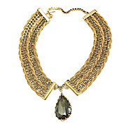 Black Diamond Colored Rhinestone and Gold Tone Mesh Choker Necklace with Drop Pear Shaped Stone