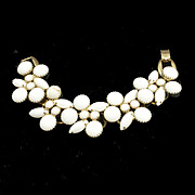 White Milk Glass Five Link Juliana Bracelet