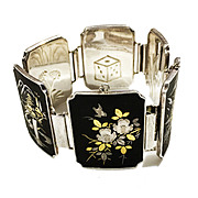 Japanese Amita Silver Damascene Link Bracelet with Multi Scene Link and Figural Pattern Back