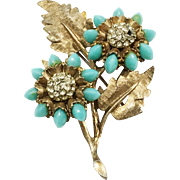 HAR Turquoise Colored Floral Brooch with Florentine Textured Base