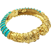 KJL Bright Turquoise Enamel and Textured Gold Tone Metal Lion Hinged Clamper Bracelet
