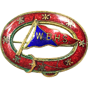 Deep Red and Royal Guilloche Enamel Oval Nautical Brooch with Buckle Detail and Sailing Flag