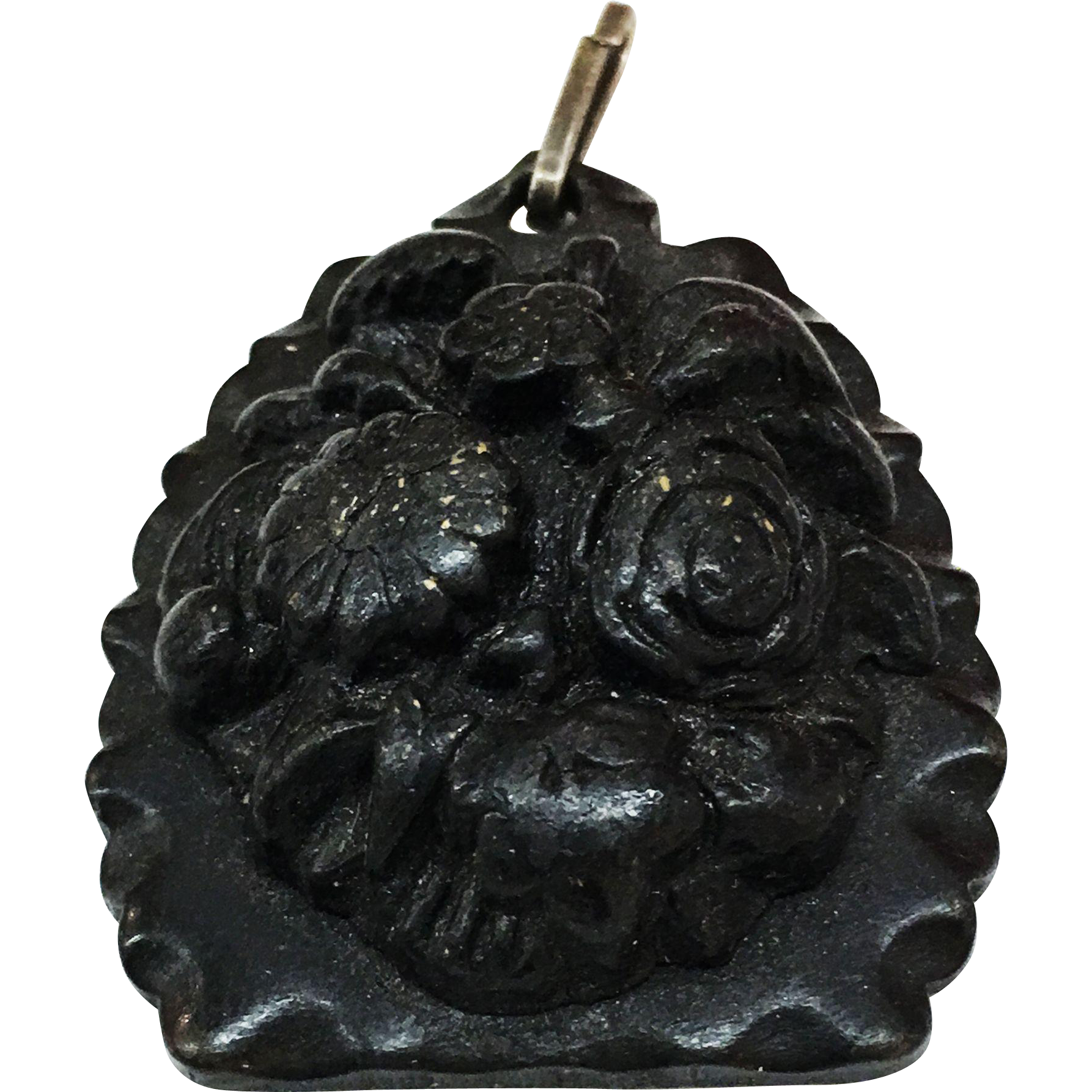 Floral Carved Gutta Percha Pendant