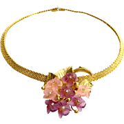 CHRISTIAN DIOR  by Grosse Germany 1968 Spring Raspberry and Rose Glass Flower Gold Tone Braided Necklace
