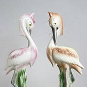 Mid Century Modern Vain and Pompous Porcelain Egrets from Pasadena 1940-1960