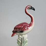 Mid Century Modern California Pottery-Flamingo Leaning on a Palm Frond 1930-1940