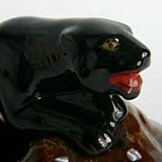 Mid Century Modern Sleek Elegant Black Panther Planter Circa 1950-1960