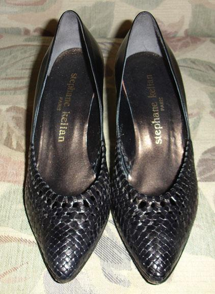 Vintage Stephanie Kelian Woven Leather Black Pumps French 5-American 7