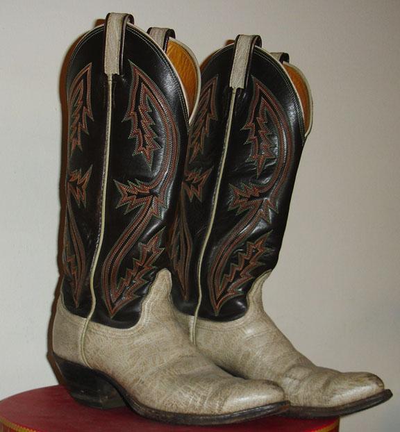 Tony Llama Vintage Multi Stitch on Black with Ivory Bottom Cowboy Boots Ladies Size 7 1/2