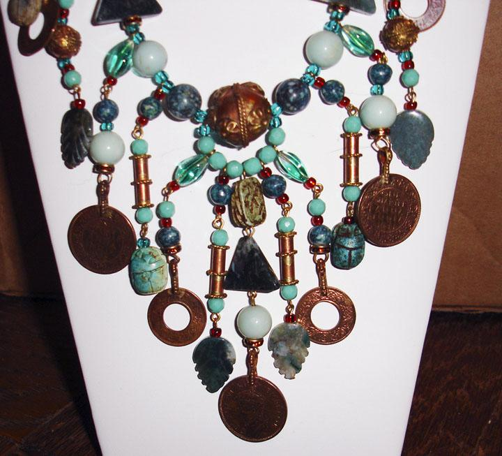 Grandiose Green and Glass Bohemian Artisan Necklace
