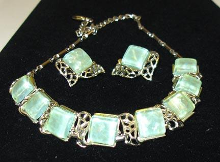 Great Pale Green Irridescent Coro Lucite Necklace and Earring Set