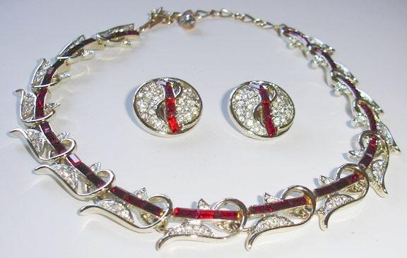 Classy Kramer Red Baguette and Clear Rhinestone Necklace and Earring Set