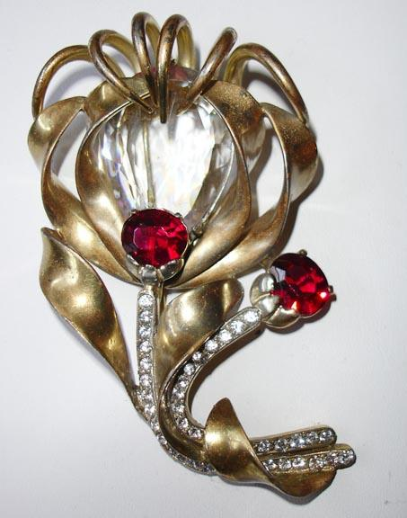 Large Gold Tone Metal with Red and Clear Old HC Hattie Carnegie Dress Clip