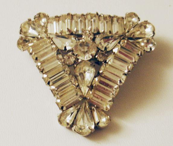 Lush Triangular Shaped Rhinestone Baguette Brooch