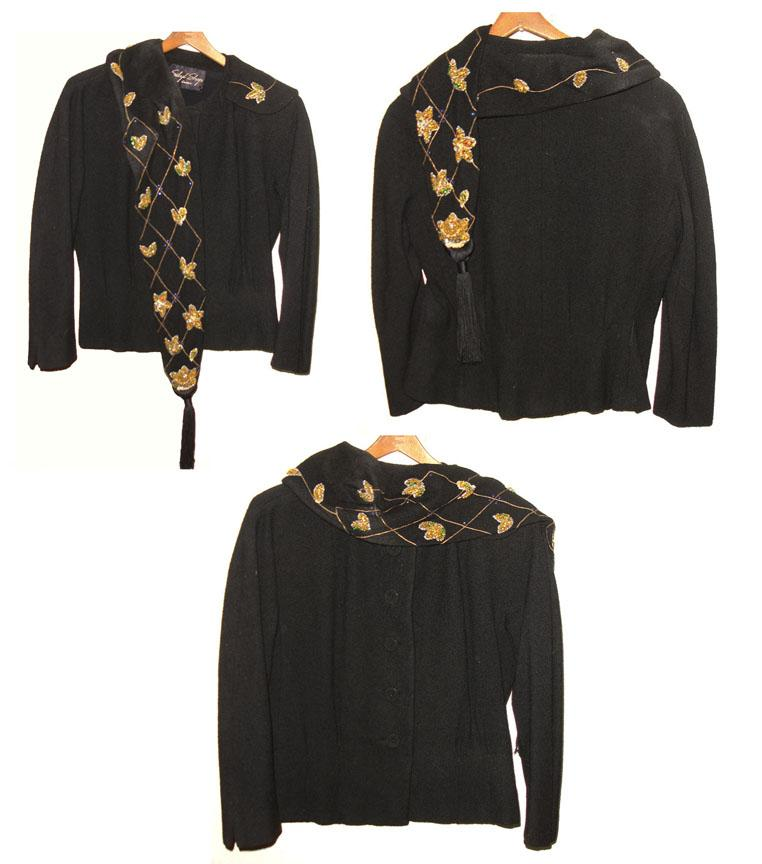 Opulent Black Wool 1940's Jeweled Wrap Fitted Scarf Jacket