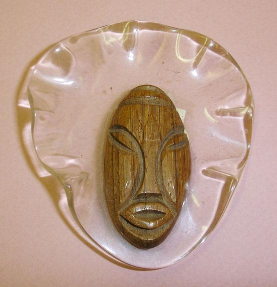 Wild and Wacky Lucite and Wood Elzac Type Face Brooch