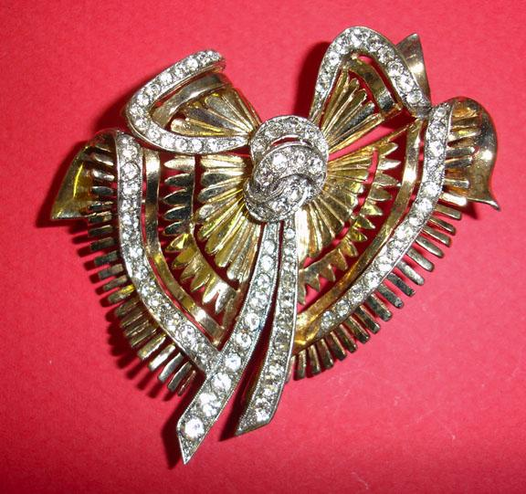 DeRosa Signed Sterling Goldwash and Rhinestone Abstract Bow Brooch