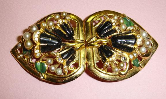 Coro Stunning Enameled Floral Signed Duette