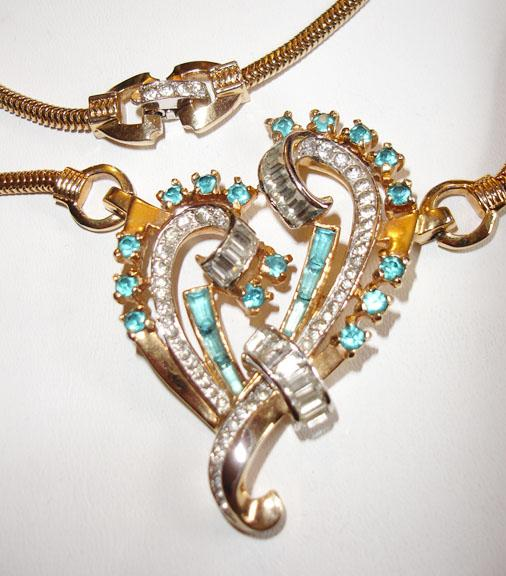 Signed Mazer Heart Shaped Necklace with Rhinestones, Baguettes and Pave