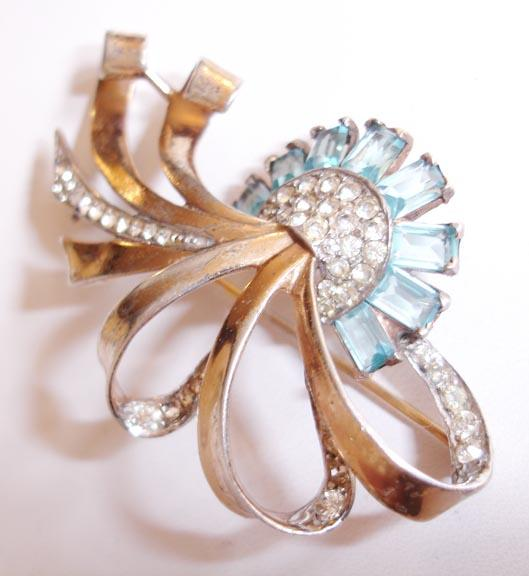 Sterling with Wash Fabulous Aqua and Clear Retro Rhinestone Brooch Numbered