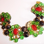 Fabulous Freirich Christmas Holiday Colored Glass Bracelet