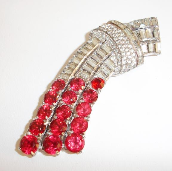 Raspberry Red and Diamond Colored Rhinestone Dress Clip/Brooch