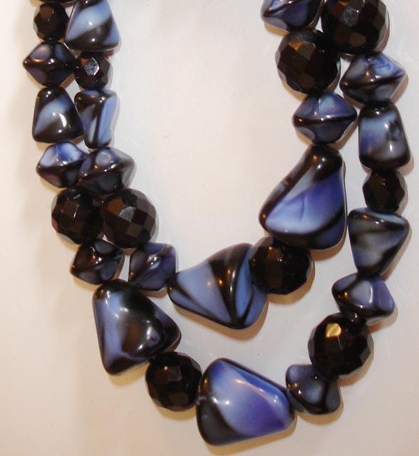 Out of this World Blue/Black Czech Glass Necklace