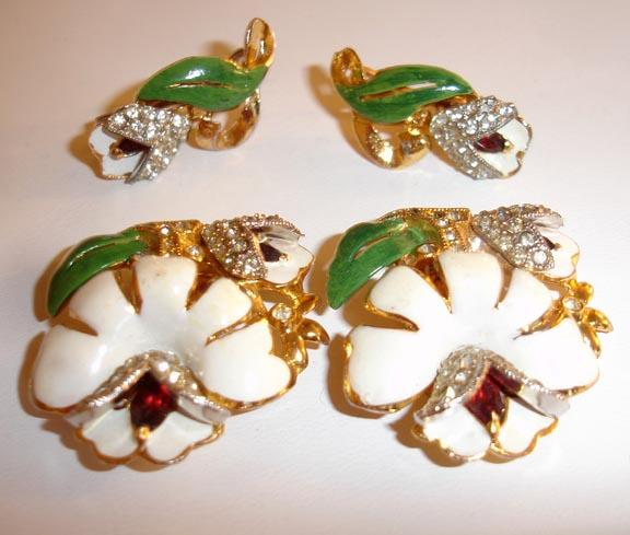 Very Old 1930's Coro Enameled and Rhinestoned Floral Duette Dress Clips and Earrings