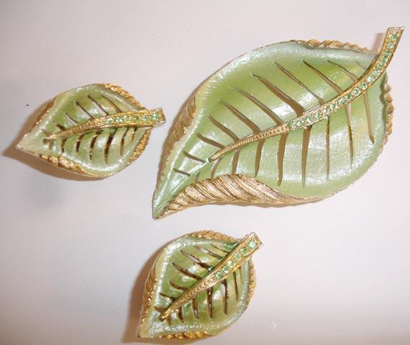 Tropical Green Enameled Fall Leaf and Earring Demi