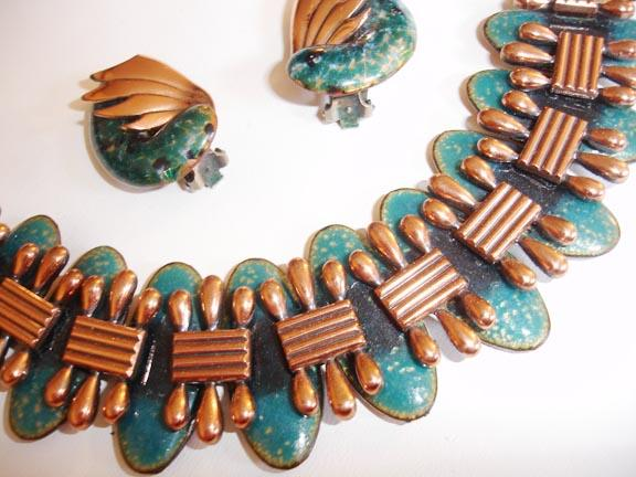 Matisse/Renoir Enameled Copper Bracelet and Earring Set