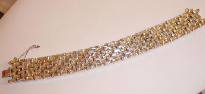 Signed Trifari Bold All Baguette Wide Bracelet