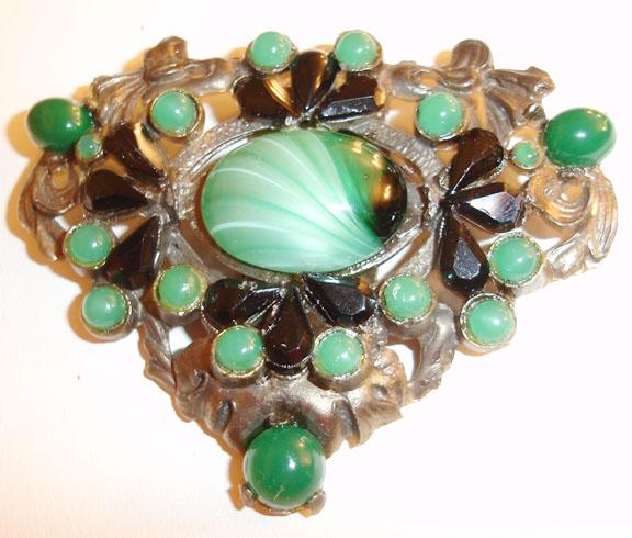 Unusual Large Green and Black 1930's Dress Clip/Brooch