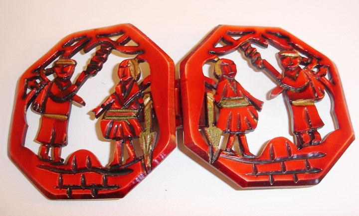 Vintage Celluloid South American Figural Motif Belt Buckle TLC