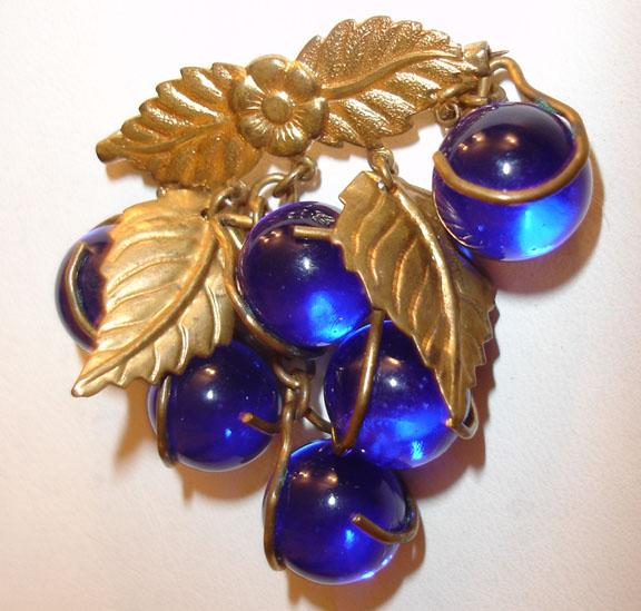 Cobalt Blue Hanging Glass Ball and Gold-tone Leaf Brooch