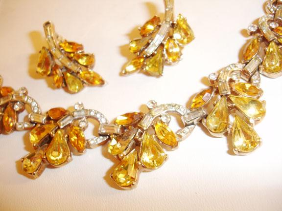 Unusual Trifari Yellow Pear Rhinestone Necklace and Earring Demi Parure