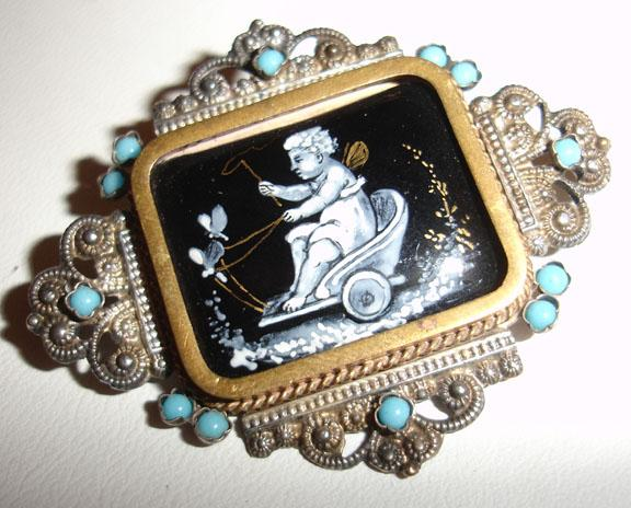 Mid 1800's Antique Cherub in a Chariot Brooch C-Clasp