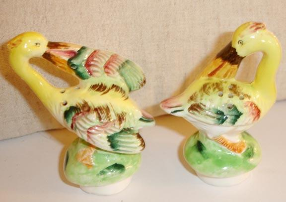 Beautiful Birds of Paradise Preening Salt and Pepper Shakers