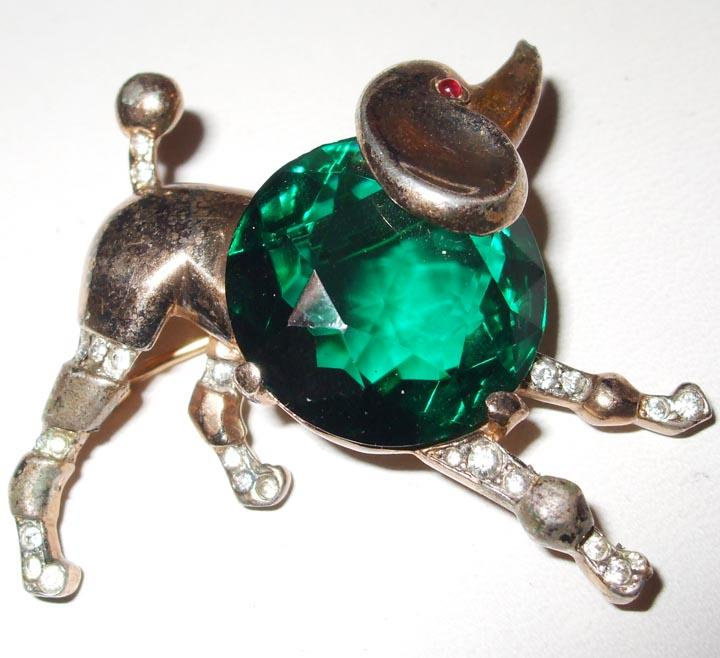 Trifari Sterling Green Faceted Rhinestone Chested Playful Poodle Brooch