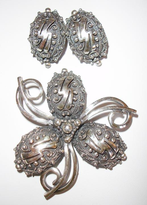 Botticelli Wonderfully Textured Metal Brooch and Earrings