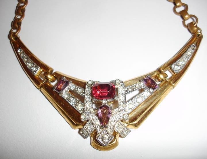 McClelland Barclay Raspberry Red, Plum and Diamond Colored Rhinestone Necklace