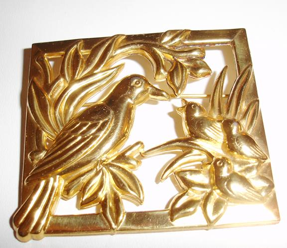Coro Sterling Bird Figural Picture Frame Brooch