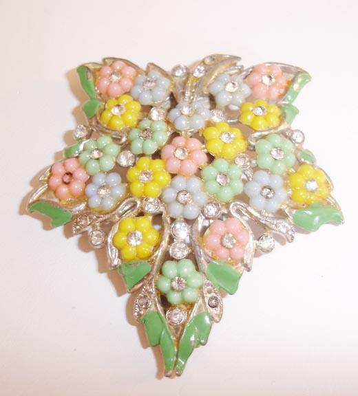 Pretty Pastel Color Fruit Salad Fur Clip 1930's