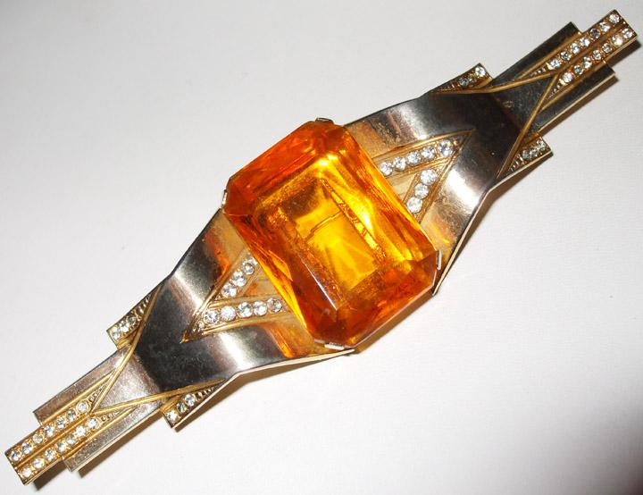 Dimensional 1940's Deco Brooch with Faceted Amber Rhinestone