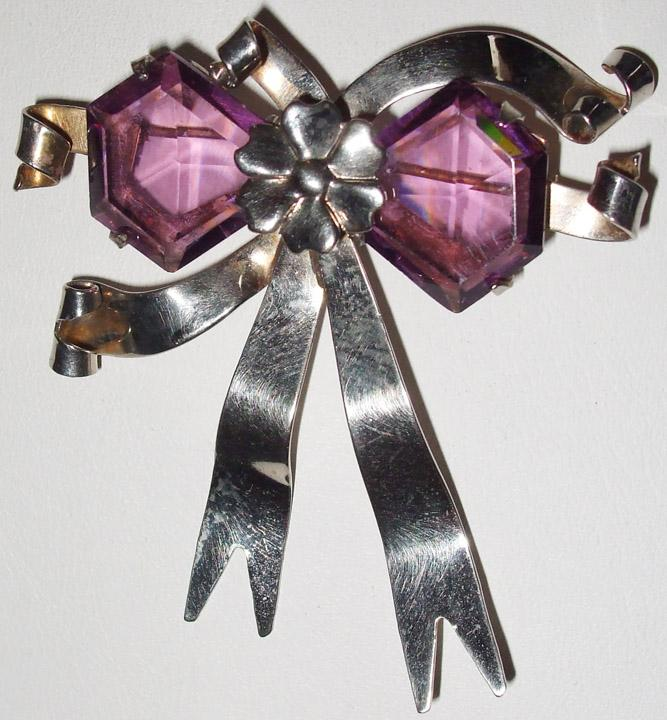 Retro Sterling Bow Brooch with Gorgeous Amethyst Rhinestones