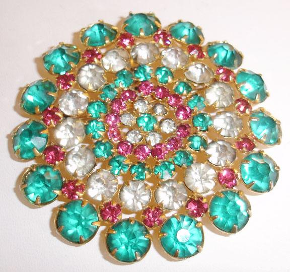 Large House of Schrager New York Turq and Pink Rhinestone Brooch