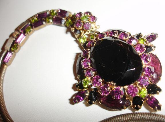 Black, Purple, and Peridot Rhinestone Necklace Divine