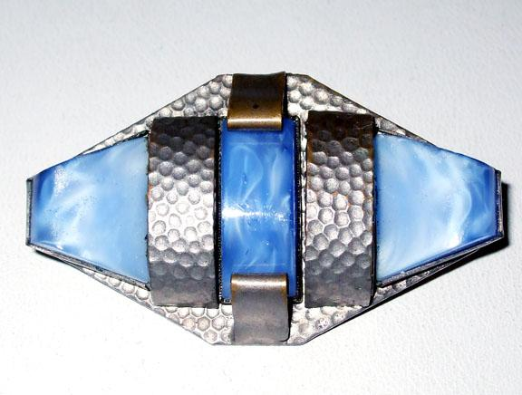 Signed Czech Deco Hammered Metal and Blue Brooch