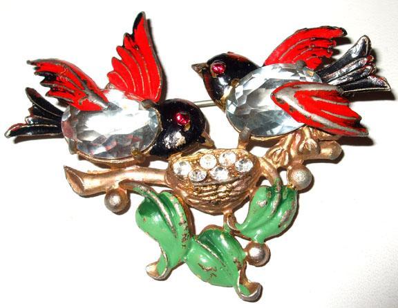 Fred Gray Rhinestoned Bellied Sparrows in a Bird Bath Enameled Figural Brooch
