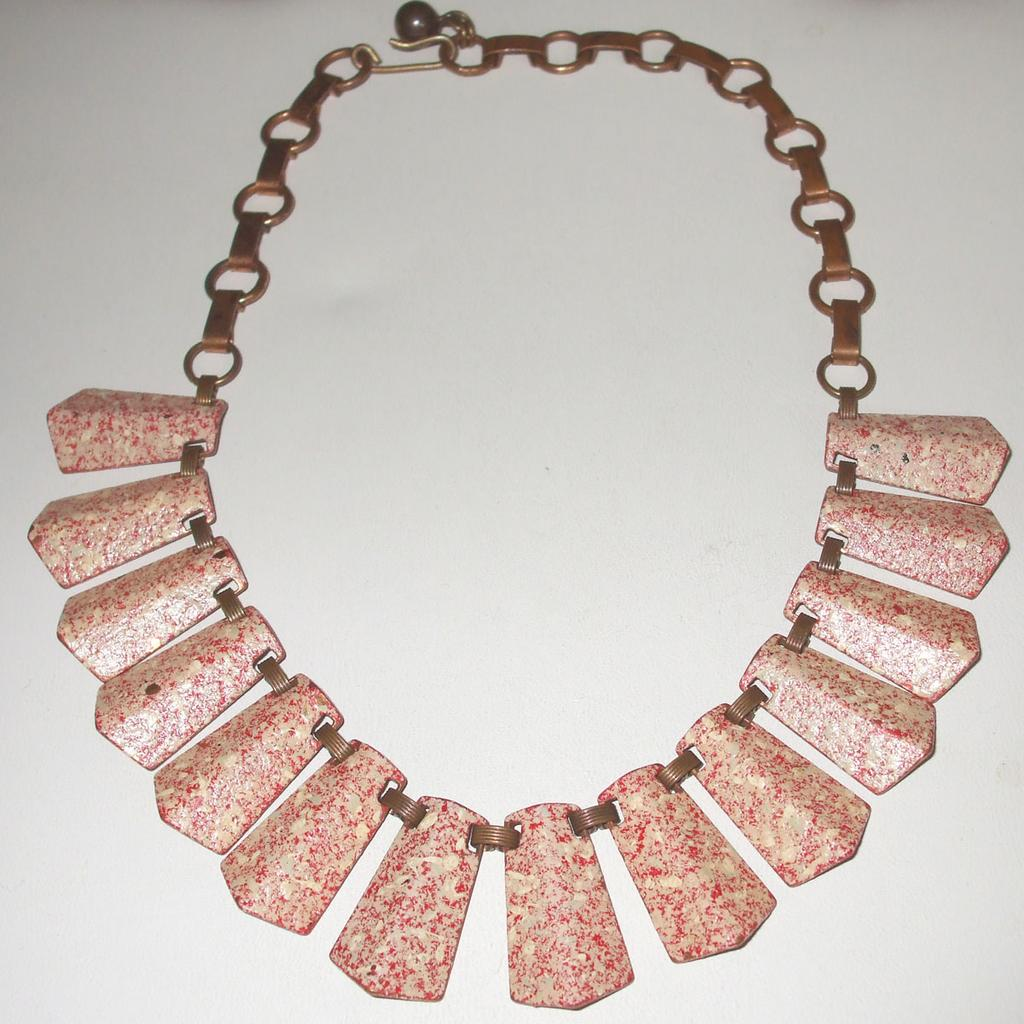 Fabulous Red, Pink and Ivory Speckled Enamel Copper Necklace